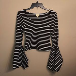 torn by ronny kobo striped bell sleeve